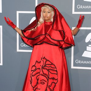 Nicki Minaj arrices at the Grammy Awards