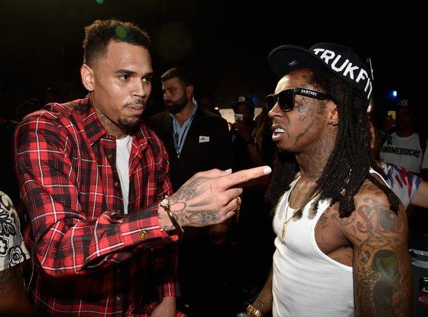 Chris Brown and Lil Wayne at the BET Awards 2014