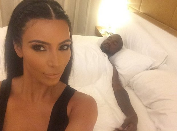 Kanye West in bed