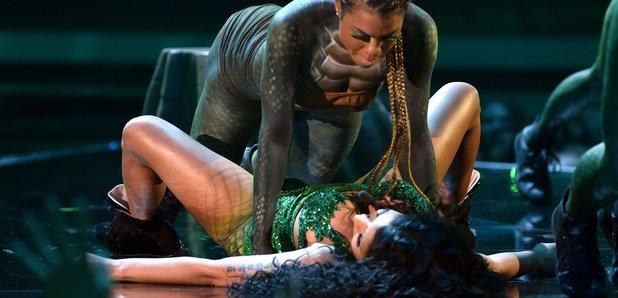 Nicki Minaj on stage at the VMAs 2014