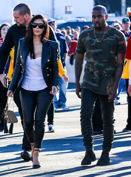 Kim Kardashian and Kanye West Super Bowl 2015