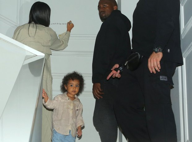 North West with Kim and Kanye West