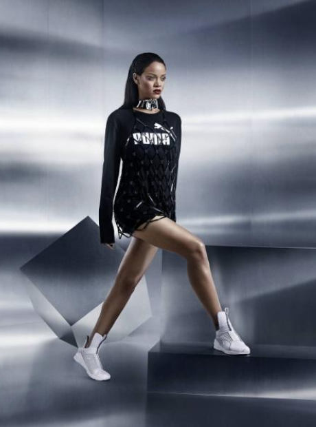 Rihanna wearing Puma trainers
