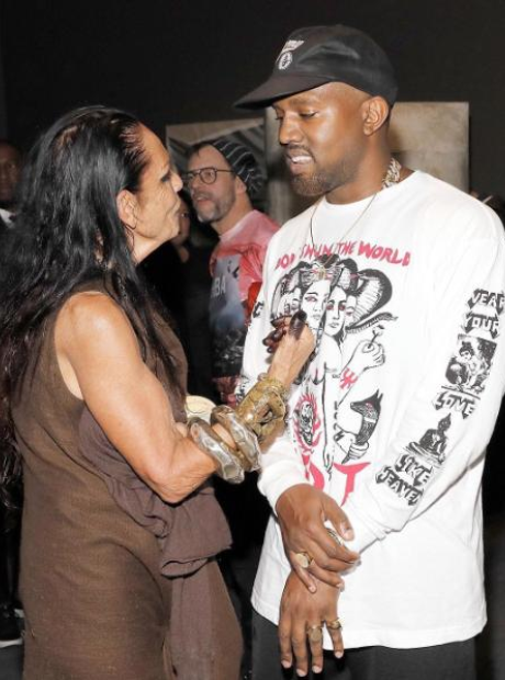 Kanye West and Michèle Lamy attend the opening of
