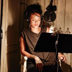 Rihanna in the studio