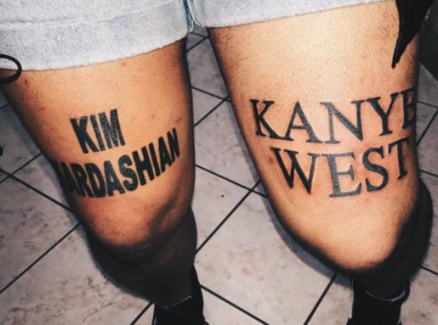 Kim Kardashian and Kanye West fan tattoos